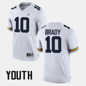 Youth(Kids) Michigan #10 Tom Brady White Alumni Football Game Jersey 558826-840