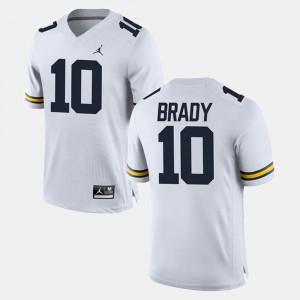 For Men's Michigan #10 Tom Brady White Alumni Football Game Jersey 937714-145