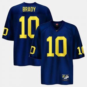 For Kids University of Michigan #10 Tom Brady Blue College Football Jersey 675396-382