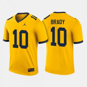 For Men's Wolverines #10 Tom Brady Maize College Football Jersey 476151-752