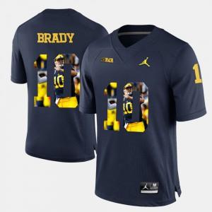 Men's U of M #10 Tom Brady Navy Blue Player Pictorial Jersey 348926-366