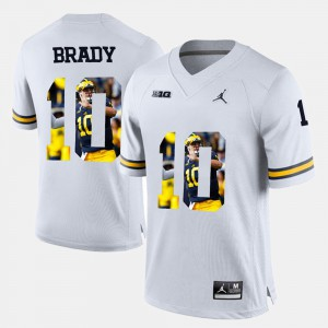 Men's Wolverines #10 Tom Brady White Player Pictorial Jersey 152577-768