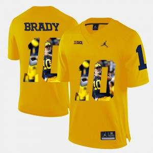 For Men Wolverines #10 Tom Brady Yellow Player Pictorial Jersey 881955-930