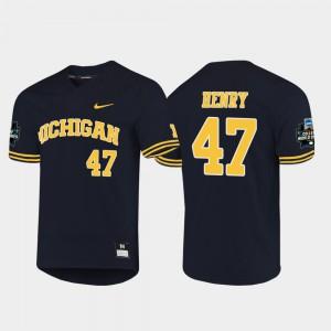 Mens Michigan #47 Tommy Henry Navy 2019 NCAA Baseball College World Series Jersey 888391-125