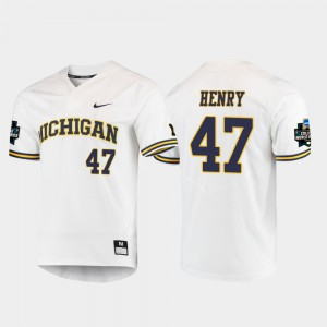 Men's Michigan Wolverines #47 Tommy Henry White 2019 NCAA Baseball College World Series Jersey 773167-333