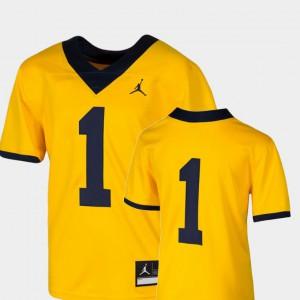 For Kids Michigan #1 Maize College Football Team Replica Jersey 175859-491