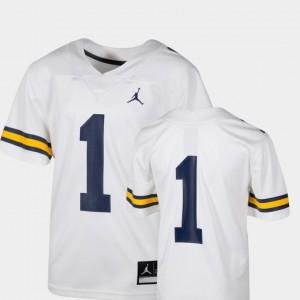 Kids U of M #1 White College Football Team Replica Jersey 888023-899