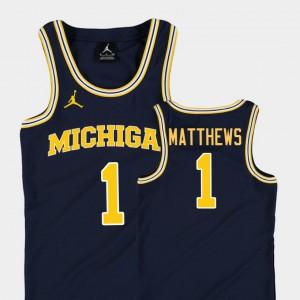 For Kids Michigan Wolverines #1 Charles Matthews Navy Replica College Basketball Jordan Jersey 734887-739