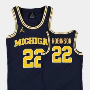 For Kids University of Michigan #22 Duncan Robinson Navy Replica College Basketball Jordan Jersey 336876-695