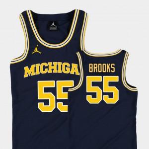 Youth(Kids) Michigan #55 Eli Brooks Navy Replica College Basketball Jordan Jersey 628679-790