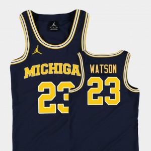 For Kids Michigan Wolverines #23 Ibi Watson Navy Replica College Basketball Jordan Jersey 538616-609
