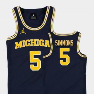 Youth(Kids) U of M #5 Jaaron Simmons Navy Replica College Basketball Jordan Jersey 959577-674