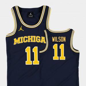 Youth Michigan #11 Luke Wilson Navy Replica College Basketball Jordan Jersey 173994-120