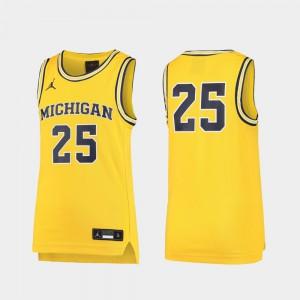 For Kids U of M #25 Maize Replica Basketball Jersey 619451-836