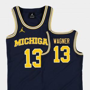 Youth(Kids) University of Michigan #13 Moritz Wagner Navy Replica College Basketball Jordan Jersey 470649-619