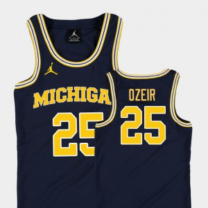 For Kids Michigan Wolverines #25 Naji Ozeir Navy Replica College Basketball Jordan Jersey 512445-140