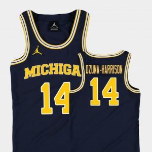 For Kids U of M #14 Rico Ozuna-Harrison Navy Replica College Basketball Jordan Jersey 386844-490