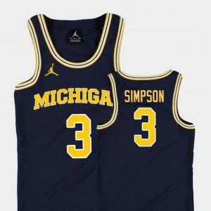 For Kids University of Michigan #3 Zavier Simpson Navy Replica College Basketball Jordan Jersey 527217-644